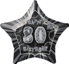 Black Glitz 'Happy 80th Birthday' Foil Balloon